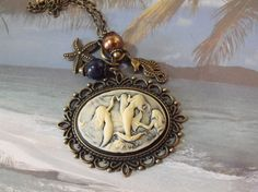 Mermaid Cameo Necklace Nautical Womens with Pearls by AGothShop, $16.00