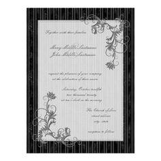 Black, White and Silver Wedding Invite Template