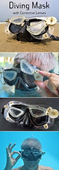 The corrective lenses for diving masks that are commonly available are fixed to the glass of the mask. These lenses are either in the form of a prescription lens – the glass pane of the mask is a lens with the required corrective power - or a stick-on lens that is stuck on to the glass pane of the mask. But a fixed lens is very often inconvenient because one cannot adjust it to ones needs.