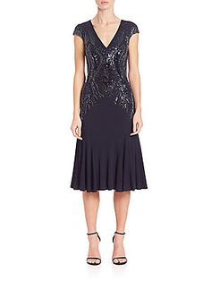 David Meister Beaded-Detail Jersey Cocktail Dress - Navy - Size