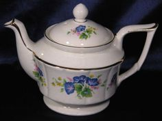 TEAPOT-ARTHUR-WOOD-MORNING-GLORY-W-GOLD-ACCENTS-5850-FREE-SHIPPING-USA