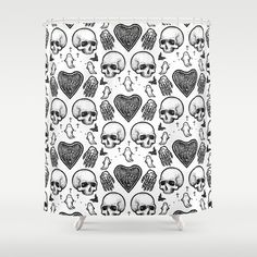Ghostly Dreams II shower curtain: $68 This design is also available as a pillow, print, mug, and much more on my Society 6 webstore, please check it out! #fashion #tote #bag #purse #accessories #pillow #design #interiordesign #decoration #decorating #bedroom #interior #inspiration #home #bed #bedding #duvet #bedspread #skull #skulls #ghost #creepy #edgy #grunge #white #illustration #society6 #print #bath #bathroom #shower #shower curtain