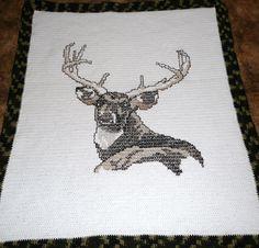 Deer - Mighty Stag Deer - Gorgeous - Crochet Afghan Blanket Throw. $155.00, via Etsy.