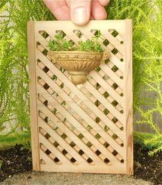 Miniature Garden Cedar Trellis with Wall Pot & Live Plants. Made in the USA