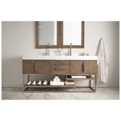 "Best Deal - James Martin Columbia 72"" Double Bathroom Vanity, Latte Oak with Bright White Solid Surface Countertop 388-V72-LTO-A"