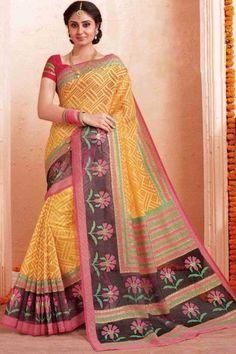 Stylish Orange Art Silk Saree With Art Silk Blouse - Latest Sarees Online, Indian Sarees Online, Modest Summer Fashion, Sari Design, Indian Designer Sarees, Orange Art, Ethnic Outfits, Art Silk Sarees, Chiffon Saree