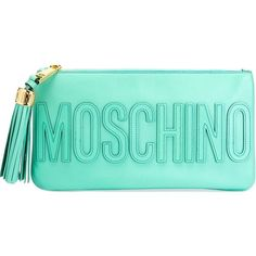 Moschino stitched logo clutch ($545) ❤ liked on Polyvore featuring bags, handbags, clutches, green, green handbags, green purse, moschino handbag, moschino purse and green clutches
