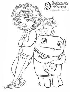 Home Colouring Page Featuring Tip Oh And Pig From The Dreamworks Movie