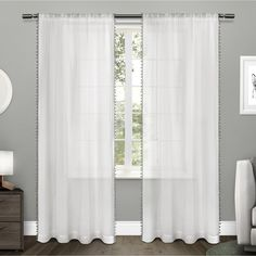 ATI Home Sheer Pom Pom Bordered Rod Pocket Window Curtain Panel Pair - Free Shipping On Orders Over $45 - Overstock.com - 19510957