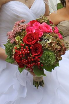 beautifully grouped flowers and succulents make up this bouquet, perfect for fall!