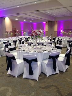 black crinkle taffeta sashes and white spandex chair covers