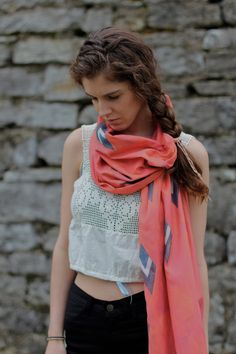 Luca Long Scarf in Coral by Inks+Thread