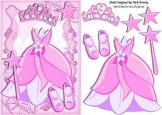 Pretty pink princess dress with tiara and shoes on Craftsuprint - Add To Basket!