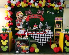 No photo description available. Mickey Mouse Clubhouse Birthday Party, Race Car Birthday, Baby Boy 1st Birthday, Cars Birthday Parties, Mickey Party, Mickey Mouse Birthday, Mickey Decorations, Bolo Mickey, Fiesta Mickey Mouse