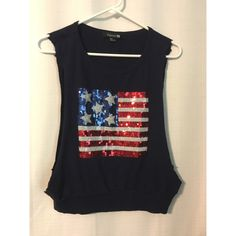 American Flag Navy Sweater Crop Top Cropped sweater muscle tank barely worn and in good condition! Perfect for summer and 4th of July!  Forever 21 Tops Muscle Tees