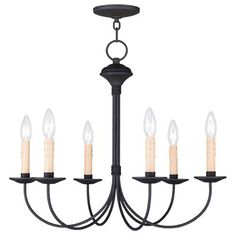 Heritage Black Six Light Chandelier
