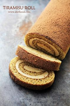 Tiramisu Cake Roll - Espresso flavored cake sponge brushed with a coffee-liqueur syrup and filled with a Mascarpone Cheese Whipped Cream. Cupcakes, Cupcake Cakes, Poke Cakes, Layer Cakes, Cake Roll Recipes, Dessert Recipes, Swiss Roll Cakes, Swiss Cake, Jelly Roll Cake