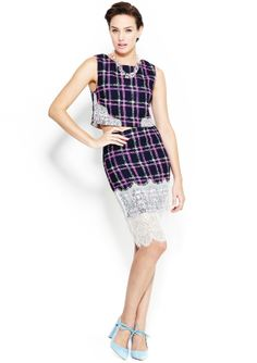 ENDLESS ROSE Plaid pencil Skirt with Lace  i think this could be made...crafty project?
