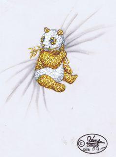 private label yellow and white diamond panda brooch