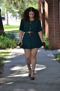Not sure if this is a dress or short set, but I do know it is very fashionable.-TMC~~ Plus size fashion and skinny belt - what fabulous legs!