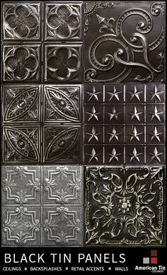 Authentic tin panels for exceptional interiors. Samples available: http://www.americantinceilings.com/color.html?utm_source=pinterest&utm_medium=social&utm_campaign=artisancolors&cpao=138&cpca=pinterest&cpag=social&kw=artisan