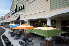 The Shops at Biddeford Crossing, designed by HFA, include large and small retail stores, a clinic and restaurants, including a sandwich shop with built-in space for outdoor dining.