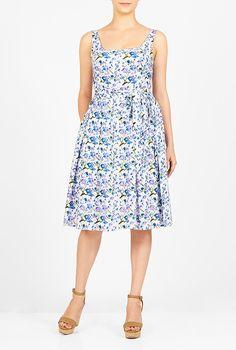 I <3 this Floral print sash tie dress from eShakti
