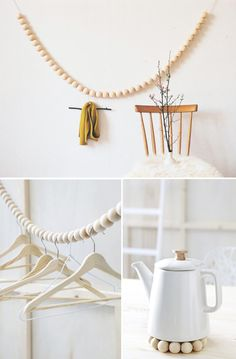DIY ideas with natural wood beads Interior Decorating Styles, Diy Interior, Interior Modern, Modern Room Decor, Contemporary Decor, Bois Diy, Diy Inspiration, Idee Diy, Konmari