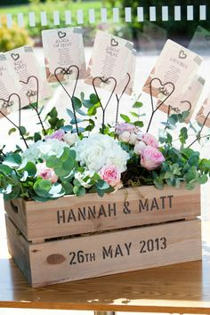 Table plan in a crate of flowers