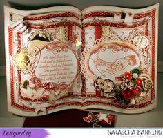 Buchkarte zur Hochzeit in rot-weiß-gold