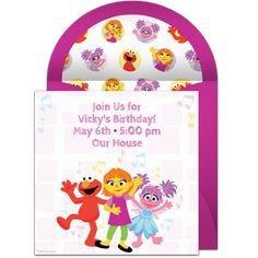 We are loving this Sesame Street invitation featuring Elmo, Julia, and Abby. Free and easy to send via text, email, or social media. Sesame Street Birthday Invitations, We Are Love, Online Invitations, Punch Bowls, Elmo, 2nd Birthday, Little Ones, Toy Chest, Party Supplies