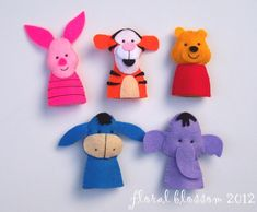 Digital Pattern: Hunny Bear and Friends Felt Finger Puppets Felt Puppets, Felt Finger Puppets, Hand Puppets, Felt Diy, Felt Crafts, Finger Puppet Patterns, Craft Projects, Sewing Projects, Felt Books