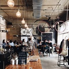 The suspended bicycles at Café Falco in Montreal. | 31 Coffeeshops And Cafés You Wish You Lived In