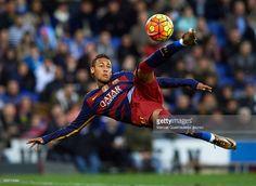 Neymar JR of Barcelona in action during the La Liga match between Real CD Espanyol and FC Barcelona at Cornella-El Prat Stadium on January 2, 2016 in Barcelona, Spain.