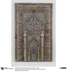 Glazed ceramic mihrab, Kashan, Iran, 1226 AD Highlights, Glazed Ceramic, Islamic Art, Medieval, Tiles, Objects, Ceramics, Rugs, Digital
