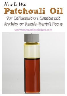 How to Use Patchouli Oil for Inflammation, Counteract Anxiety or Regain Mental Focus http://www.namastebookshop.com/blog/patchouli-oil/ As anti-inflammatory, it can be used to counteract itching due to dandruff, eczema, psoriasis, and tinea. Just apply 3 drops of patchouli oil with 1 teaspoon of carrier/ base oil to the affected area, three times a day. Observe if the itching disappears.