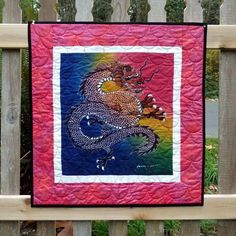 Dragon Art Quilt, Colorful Chinese Wall Hanging from Etsy seller DesignerDahliasEtc
