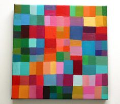 A fun way to explore color mixing, warm colors surrounded by cool, and brush control. Abstract Painting by tushtush on Etsy