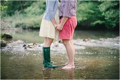 Fun southern engagement session! Hunter boots.