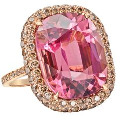 Paolo Costagli Pink Tourmaline Cognac Diamond Ring by None, via Polyvore
