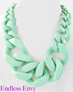 Chunky Mint Acrylic Curb Link Necklace #Fashion #Summer #Mint