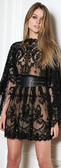 Zuhair Murad ● FW 2014-15 black lace cocktail dress with cape-like sleeves