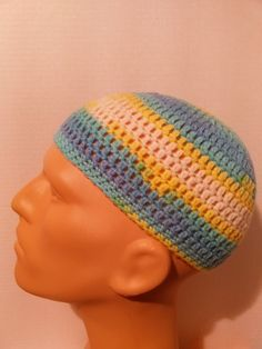 Teal, blue, yellow, and white kufi beanie skullcap crochet medium by Nadeerah on Etsy