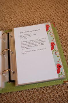 cute DIY recipe book! :) great idea.  Much better than my 3x5 cards in a ziplock Baggie.