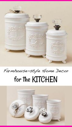 Beautiful Circa Kitchen Canister Set, with crystal knob handles. #homedecor #ideas #ad #DIY #interiordesign #kitchen #home #house #farmhouse #rustic #cheap #easy #budget #sale