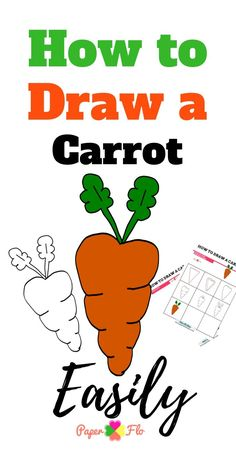 This carrot coloring page is great for every day drawing or as part of a themed art activity. It's large enough to print on a full sheet of paper and is easy to color. I think you'll enjoy this quick coloring sheet because it's fun and simple. Drawing For Beginners, Drawing For Kids, Drawing Tutorials, Drawing Ideas, How To Draw Steps, Learn To Draw, Creative Homemade Gifts, Diy Gifts, Carrot Drawing