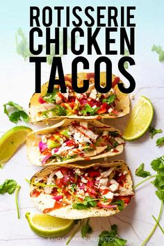 These gluten free rotisserie chicken tacos are the perfect way to use up rotisserie chicken leftovers! They're easy quick and customizable for a healthy family dinner idea! Simple ingredients like shredded chicken pickled onions and Valentina hot sauce. Rotisserie Chicken Tacos, Shredded Chicken Tacos, Taco Chicken, Chicken Salads, Healthy Family Dinners, Easy Meals, Mexican Food Recipes, Healthy Recipes, Soft Tacos