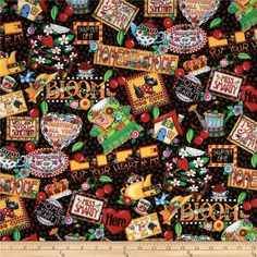 Licensed by Mary Engelbreit for VIP, this fabric is perfect for quilting, apparel and home décor accents. Colors include lime, green, red, light blue, purple and yellow on a black background.