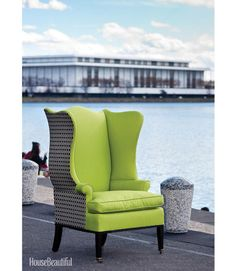 This beautiful Wing Back Chair by our preferred business partner is given a contemporary touch by using unexpected fabrics.  Love that lime color!      House Beautiful is sponsoring a giveaway in the Washington DC Area in March. You can win this chair!  Go to this link: http://www.housebeautiful.com/decorating/colors/go-green-street-giveaway-0311#slide-1
