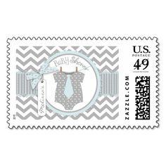 Baby Boy Tie Chevron Print Baby Shower Stamp
